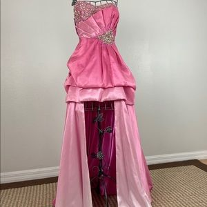 Two Tone Pink Strapless Rhinestone High-Low Gown